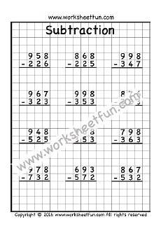 subtraction with regrouping worksheets on graph paper 10688 3 digit subtraction no regrouping three worksheets with images subtraction worksheets