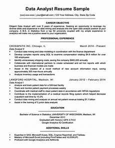 resume objective analyst data analyst resume sle writing tips resume companion