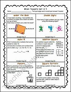 riddle worksheets for grade 5 10905 this collection of printable math problems and math brain teasers cards from teaching