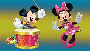Mickey Mouse And Minnie With Drum Desktop Hd
