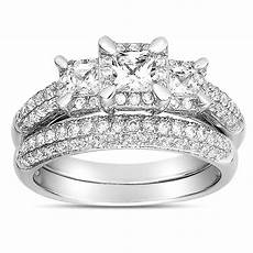 2 carat three stone trilogy princess diamond wedding ring in white gold for jeenjewels