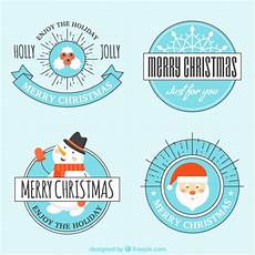various vintage merry christmas stickers vector free download