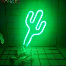 tonger home decor cactus led art neon sign board wall