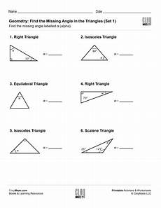 geometry triangle worksheets pdf 912 geometry find the missing angle in the triangle set 1 childrens educational workbooks