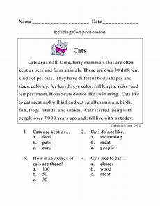 2nd grade reading comprehension worksheets multiple choice pdf cats reading comprehension lesson plan for 2nd grade lesson planet