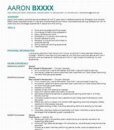 restaurant server resume design templates