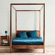 lit 2 places avec baldaquins en acacia massif 140x200 cm