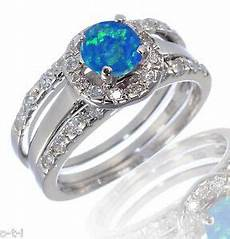 white gold sterling silver cut blue fire opal engagement wedding ring ebay