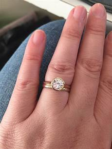 looking for ideas for wedding band with bezel engagement ring weddingbee wedding ring in