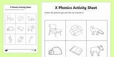 x phonics colouring worksheet worksheet republic of ireland phonics