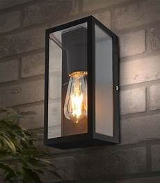 rectangular glass outdoor wall light black metal garden wall l zlc084b 5055875572591 ebay