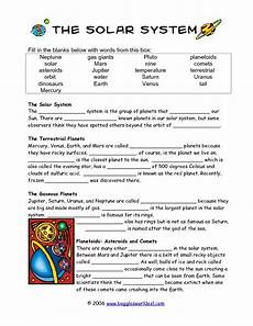 4th grade space science worksheets 13406 solar system cloze activity worksheet for 4th 5th grade lesson planet