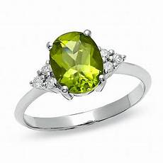 oval peridot ring with diamond accents in 10k white gold peridot august birthstone
