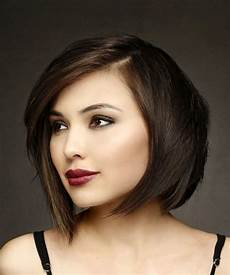 short straight brunette bob haircut with side swept bangs