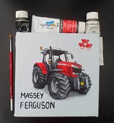 massey ferguson tractor painting 20cm square light blue
