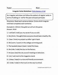 irregular verbs worksheet 1 ela literacy l 3 1d language