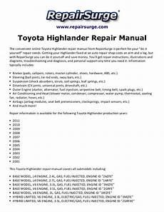 car service manuals pdf 2007 toyota highlander hybrid parental controls toyota highlander repair manual 2001 2011