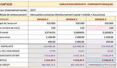 assurance prêt immobilier comparatif tableau comparatif pret immobilier banque excel