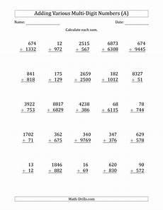 multi digits addition math worksheet various multi digit addition from 2 to 4 digits with some