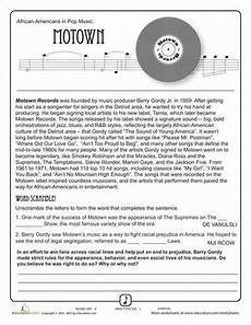 history of motown music worksheets motown and worksheets