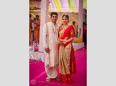 Beautiful Couple, Bride in Checkered Kanchipuram Saree