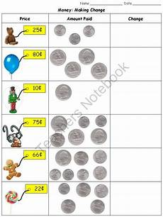 money worksheets change 2229 money change quarters dimes nickels and pennies practice sheets from king virtue on