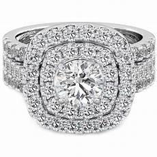 925 silver 3 piece double halo wedding bridal ring