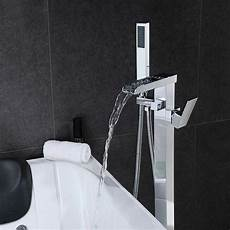Chrome Floor Mounted Bath Taps 1 Handle Waterfall