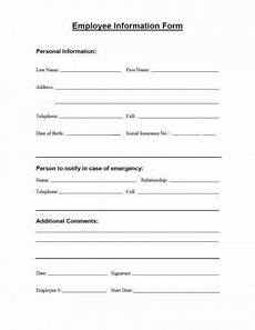15 employee information form exles pdf word exles