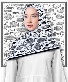 Jilbab Segi Empat Motif Fishy Printout Shop