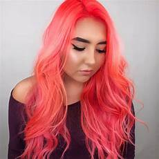 neon peach hair color trend popsugar beauty
