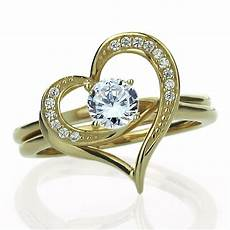 women 15mm 14k gold cz interlocking heart wedding engagement bridal ring set ebay