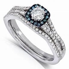 1 carat unique diamond and sapphire bridal ring