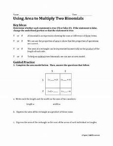 using area to multiply two binomials worksheet by j s math materials