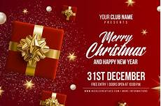 merry christmas happy new year party invitation card poster or flyer template vector premium