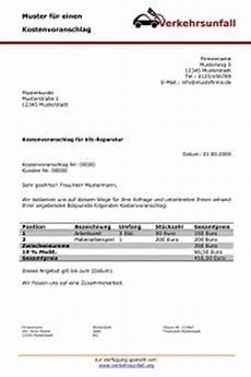 kostenvoranschlag f 252 r die autoreparatur verkehrsunfall org