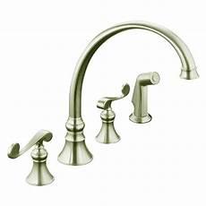 kitchen faucet 4 kohler revival 4 2 handle standard kitchen faucet in vibrant brushed nickel k 16109 4 bn