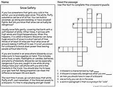 winter reading comprehension worksheets 3rd grade 20182 winter snow safety reading comprehension crossword