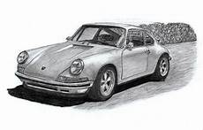 Porsche 911 Classic Sportcar Drawing By Kokas