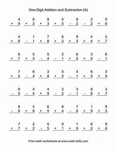 1st grade math worksheet adding adding and subtracting single digit numbers a 1st