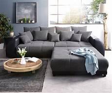 sofa mit hocker big sofa violetta 310x135 cm schwarz mit hocker m 246 bel