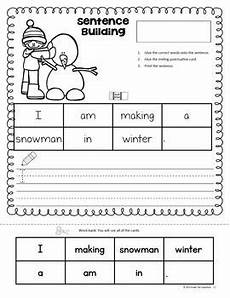 sentence building worksheets cut and paste 21045 winter sentence building sentence building sentences homeschool kindergarten