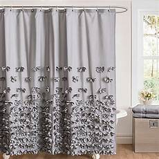 78 shower curtains buy juliet bow 54 inch x 78 inch shower curtain in grey