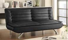 futon black coaster 500055 black leather futon a sofa