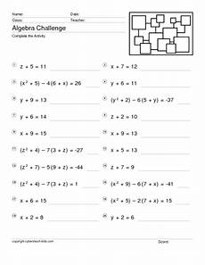 algebra single variable worksheets 8620 algebra challenge one variable equations worksheet for 8th 10th grade lesson planet