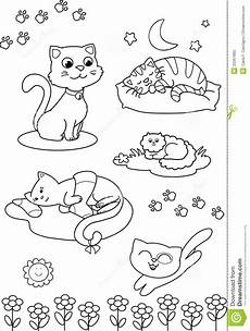 cats coloring vector page stock vector
