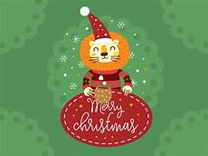 christmas lion illustration badge by manu dribbble
