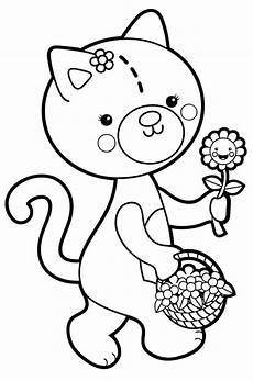 Malvorlage Katze Bunt Kostenlose Malvorlage Blumen Katze Mit Blumenkorb Zum