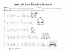 writing sentence worksheets kindergarten 22192 read and trace complete sentences sight words kindergarten sentences kindergarten writing