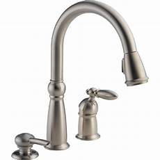 lowes kitchen faucets shop delta stainless 1 handle pull kitchen faucet at lowes